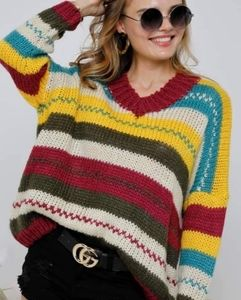 Adora Multicolored Chunky Knit Sweater Sm/Med